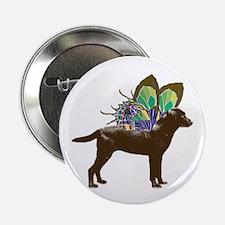 "Butterfly Labrador, Chocolate 2.25"" Button"