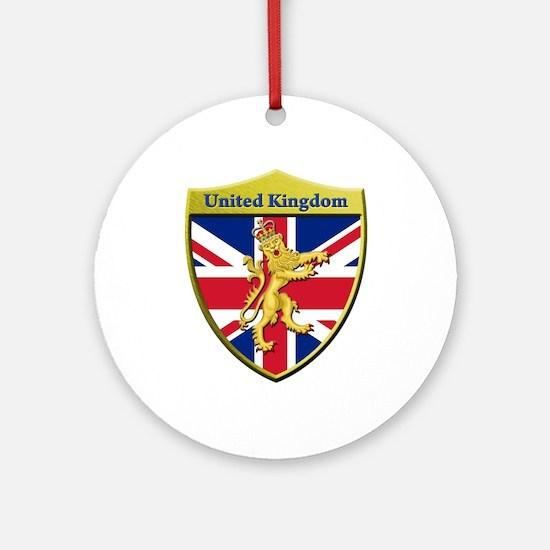 United Kingdom Metallic Shield Round Ornament