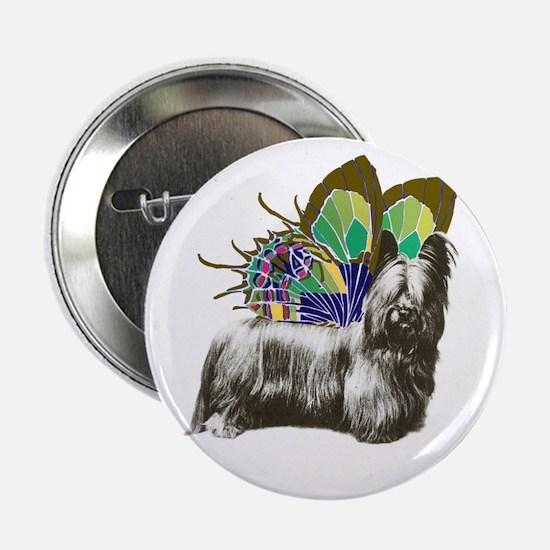 """Butterfly Skye Terrier 2.25"""" Button"""