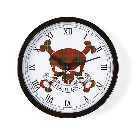 Wallace Tartan Skull Wall Clock