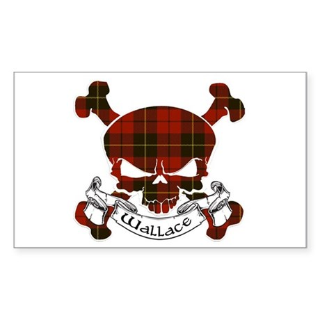 Wallace Tartan Skull Sticker (Rectangle)