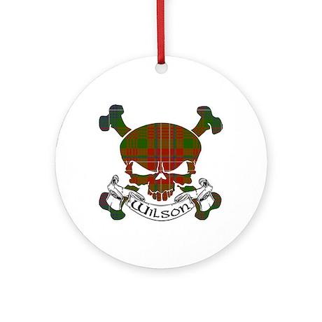 Wilson Tartan Skull Ornament (Round)