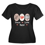 Peace Love Band Women's Plus Size Scoop Neck Dark