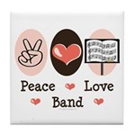 Peace Love Band Tile Coaster