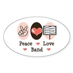 Peace Love Band Oval Sticker (10 pk)