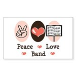 Peace Love Band Rectangle Sticker 50 pk)