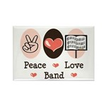 Peace Love Band Rectangle Magnet