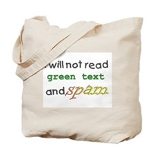 Green Text and Spam Tote Bag