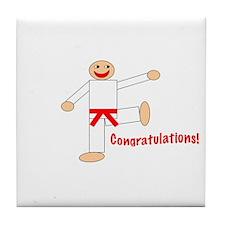 Red Belt Congratulations Tile Coaster