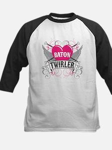 Baton Twirler Heart & Wings Kids Baseball Jersey