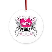 Baton Twirler Heart & Wings Ornament (Round)