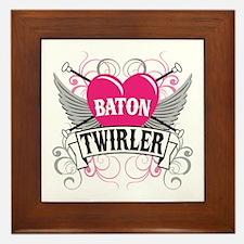Baton Twirler Heart & Wings Framed Tile