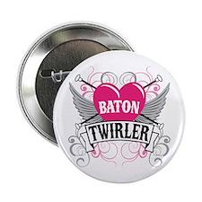 "Baton Twirler Heart & Wings 2.25"" Button"