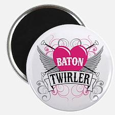 Baton Twirler Heart & Wings Magnet