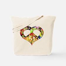 Flower Peace Heart Tote Bag