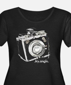 """"""".try.angle."""" women's plus size black T"""