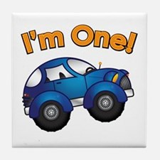 I'm One Blue Car Tile Coaster