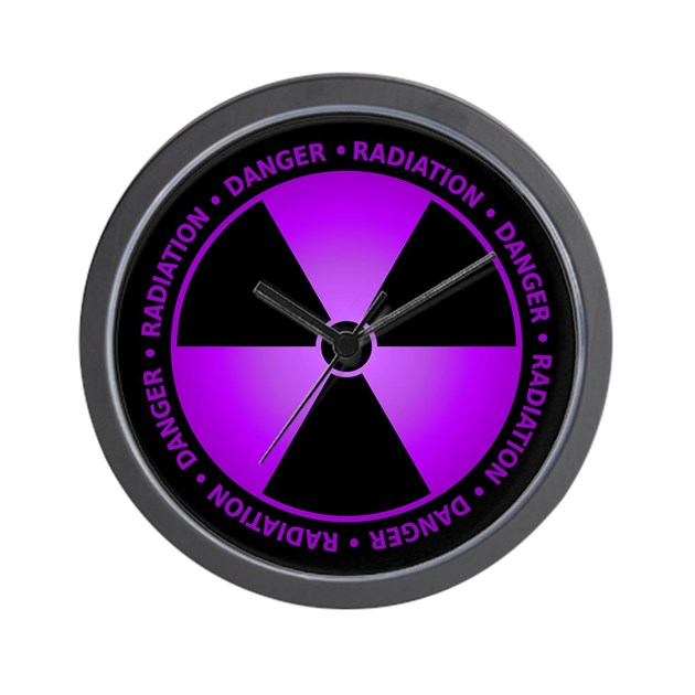 Purple Radiation Symbol Wall Clock by sciencedoodles