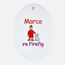 Marco - Future Firefighter Oval Ornament
