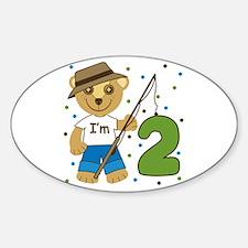 I'm 2 Fishing Bear Oval Decal