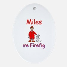 Miles - Future Firefighter Oval Ornament