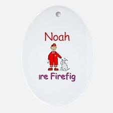 Noah - Future Firefighter Oval Ornament