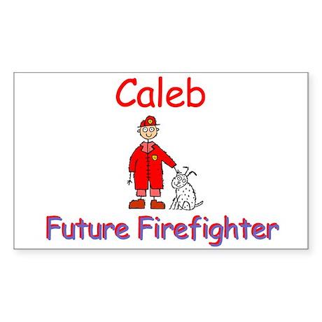 Caleb - Future Firefighter Rectangle Sticker