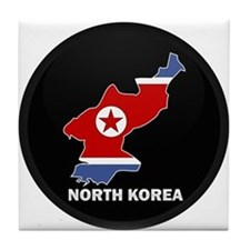 Flag Map of North Korea Tile Coaster