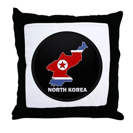 Flag Map of North Korea Throw Pillow