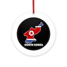 Flag Map of North Korea Ornament (Round)