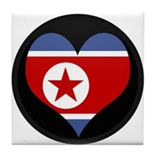 I love North Korea Flag Tile Coaster