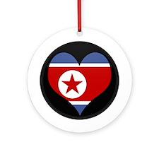 I love North Korea Flag Ornament (Round)