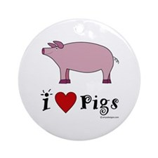 Pig Round Ornament- I love pigs