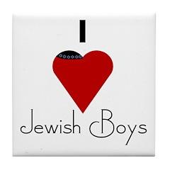 I Love (heart) Jewish Boys Tile Coaster