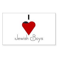 I Love (heart) Jewish Boys Rectangle Decal