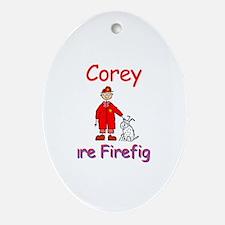 Corey - Future Firefighter Oval Ornament