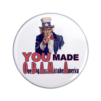 """Uncle Sam on Obama 3.5"""" Button"""