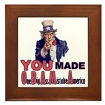 Uncle Sam on Obama Framed Tile