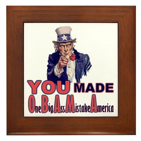 Uncle Sam on Obama Framed Tile