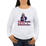 Uncle Sam on Obama Women's Long Sleeve T-Shirt