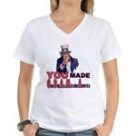 Uncle Sam on Obama Women's V-Neck T-Shirt