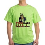 Uncle Sam on Obama Green T-Shirt