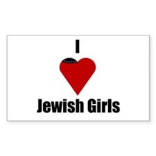 I Love (heart) Jewish Girls Rectangle Decal