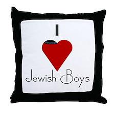 I Love (heart) Jewish Boys Throw Pillow