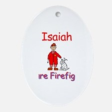 Isaiah - Future Firefighter Oval Ornament