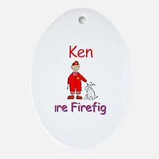 Ken - Future Firefighter Oval Ornament