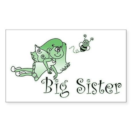 Green Bee Fairy Big Sister Rectangle Sticker