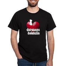 """""""I Love JapBobs!"""" Black T-Shirt"""