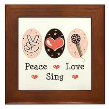 Peace Love Sing Framed Tile