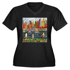 City Race Women's Plus Size V-Neck Dark T-Shirt